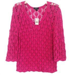 Women's Open Knit Corchet Sweater/ Bikini Cover Up